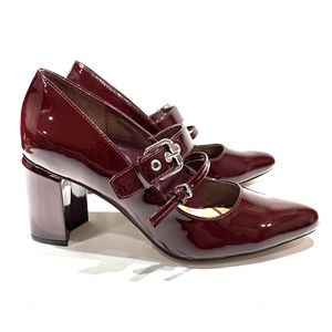 Simply Styled Dania deep red buckled block heel 8